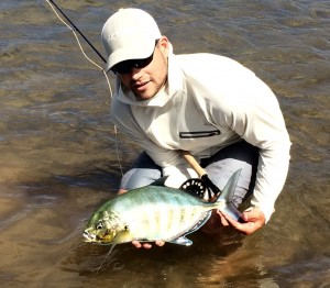 Kyle Andersen cught a beautiful Barred Jack this monring